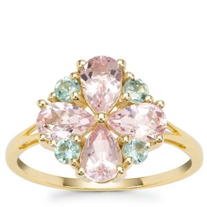 Cherry Blossom™ Morganite Ring with Aquaiba™ Beryl in 9K Gold 1.60cts