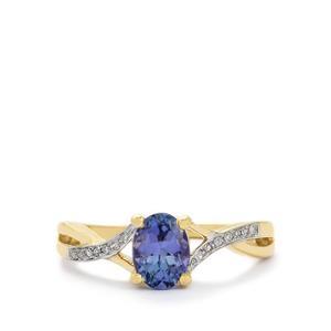 Bi-Colour Tanzanite & Diamond 9K Gold Ring ATGW 0.98cts