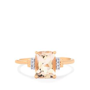 Alto Ligonha Morganite Ring with White Zircon in 10k Rose Gold 1.90cts