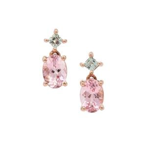Cherry Blossom Morganite Earrings with Aquaiba™ Beryl in 9K Rose Gold 1.55cts