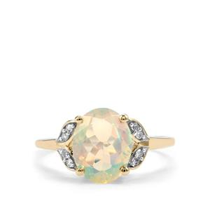 Ethiopian Opal Ring with Diamond in 10K Gold 1.62cts