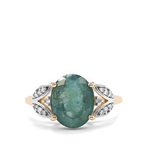 Grandidierite Ring with Diamond in 9K Gold 3.67cts