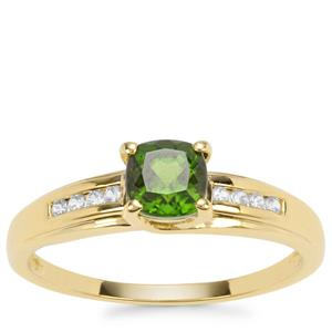 Chrome Diopside Ring with White Zircon in Gold Plated Sterling Silver 0.75ct