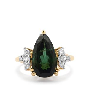 Green Tourmaline Ring with Diamond in 18K Gold 5.95cts