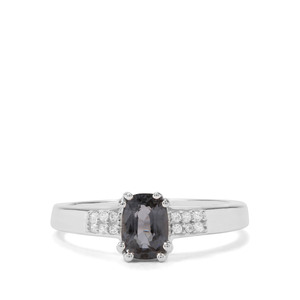 Mogok Silver Spinel & White Zircon Sterling Silver Ring ATGW 1.05cts