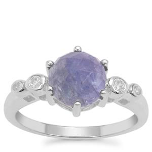 Rose Cut Tanzanite Ring with White Zircon in Sterling Silver 2.54cts