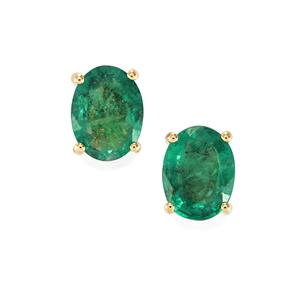 Minas Gerais Emerald Earrings in 18k Gold 1.93cts