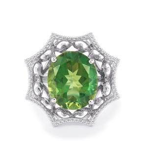Fern Green Quartz & White Topaz Sterling Ring Silver ATGW 7.18cts
