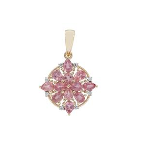 Padparadscha Sapphire Pendant with White Zircon in 9K Gold 1.83cts