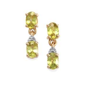 Ambilobe Sphene & Diamond 10K Gold Earrings ATGW 2.30cts