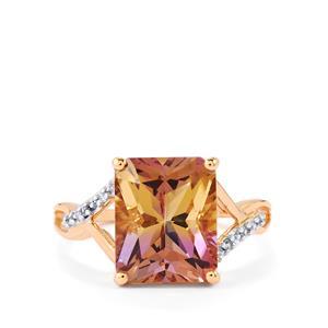Anahi Ametrine & White Zircon 10K Rose Gold Ring ATGW 4.17cts