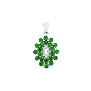 Chrome Diopside & White Topaz Sterling Silver Pendant ATGW 2.96cts