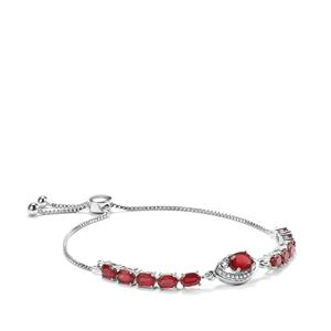Malagasy Ruby & White Zircon Sterling Silver Slider Bracelet ATGW 9.23cts (F)