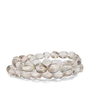 Prasiolite Set of 2 Tumble Bead Elastic Bracelet 166cts