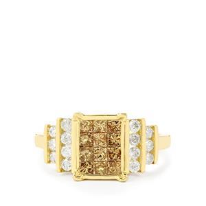 1ct Champagne & White Diamond 9K Gold Ring