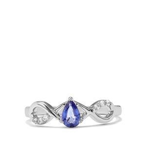Ceylon Sapphire & White Zircon 9K White Gold Ring ATGW 0.46cts