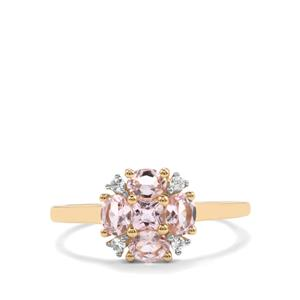 Imperial Pink Topaz & White Zircon 9K Gold Ring ATGW 0.97cts