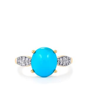 Sleeping Beauty Turquoise Ring with White Zircon in 9K Gold 3.62cts