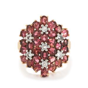 Oyo Pink Tourmaline & White Topaz Rose Midas Ring ATGW 5.66cts