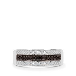 1/20ct Black & White Diamond Sterling Silver Ring