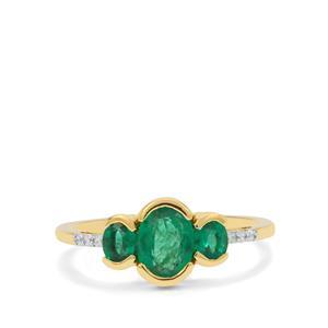 Zambian Emerald & White Zircon 9K Gold Ring ATGW 1.15cts