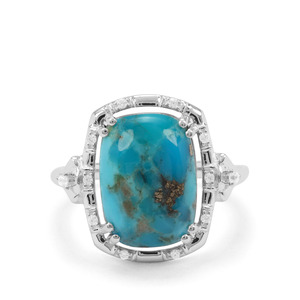 Bonita Blue Turquoise & White Zircon Sterling Silver Ring ATGW 6.40cts