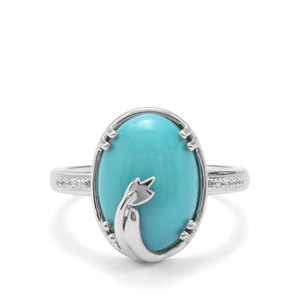 Sleeping Beauty Turquoise & White Zircon Sterling Silver Ring ATGW 5.25cts