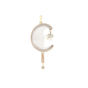 Lehrer Man in the Moon Crystal Quartz Pendant with White Zircon in 9K Gold 15.12cts