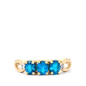 Neon Apatite & Diamond 9K Gold Ring ATGW 1.06cts