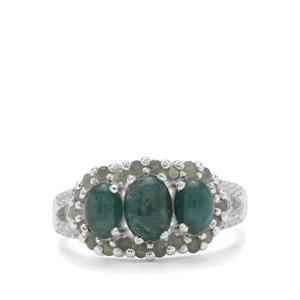 Grandidierite, Alexandrite Ring with White Zircon in Sterling Silver 2.50cts