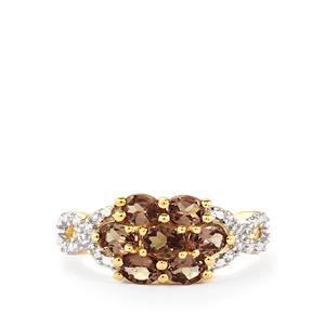 Color Change Garnet Ring with White Zircon in 10k Gold 1.69cts