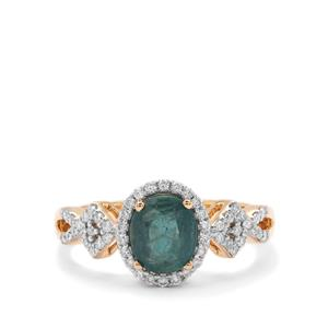 Grandidierite Ring with Diamond in 18K Gold 1.42cts