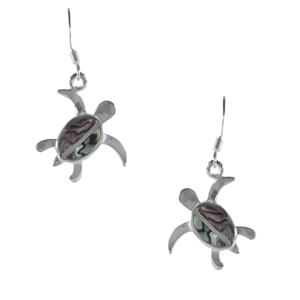 Paua Turtle Earrings in Sterling Silver