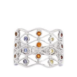 0.73ct Kaleidoscope Gemstones Sterling Silver Ring