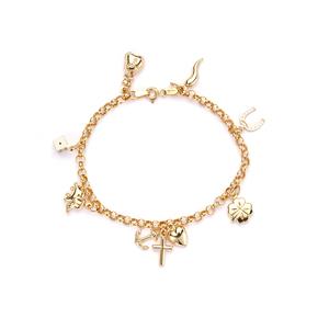 """7"""" 9K Gold Altro Lucky Charms Bracelet 4.42g"""