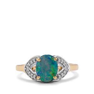 Crystal Opal on Ironstone & Diamond 18K Gold Tomas Rae Ring