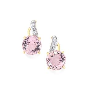 Mawi Kunzite Earrings with White Zircon in 10k Gold 5.46cts