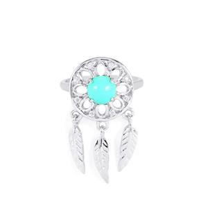 Arizona Turquoise Ring with White Topaz in Sterling Silver 1.38cts