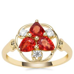 Songea Ruby Ring with White Zircon in 9K Gold 1.29cts