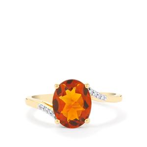 Madeira Citrine Ring with Diamond in 14k Gold 2.19cts