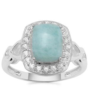 Larimar Ring with White Zircon in Sterling Silver 2.89cts