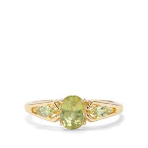 Ambilobe Sphene & Peridot 9K Gold Ring ATGW 1.19cts