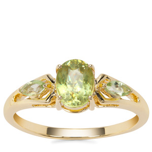 Ambilobe Sphene Ring with Peridot in 9K Gold 1.19cts