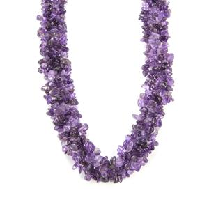 Zambian Amethyst Nugget Necklace in Sterling Silver 444cts