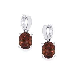 Bekily Colour Change Garnet Earrings with Diamond in 18K White Gold 3.07cts