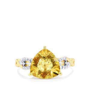 Lehrer KaleidosCut Champagne Quartz, Gouveia Andalusite & Diamond 10K Gold Ring ATGW 2.64cts