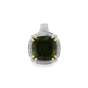 Green Apatite Pendant with Diamond in 18k Gold 13.97cts