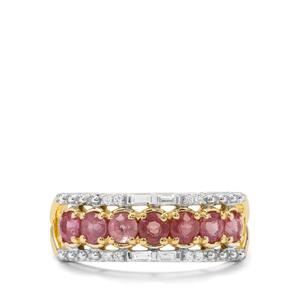 Padparadscha Sapphire & White Zircon 9K Gold Ring ATGW 1.32cts