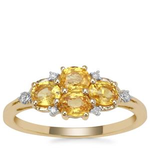 Tanzanian Canary Sapphire Ring with Diamond in 9K Gold 1.24cts