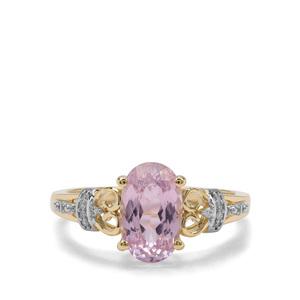 Nuristan Kunzite & Diamond 9K Gold Ring ATGW 2.45cts